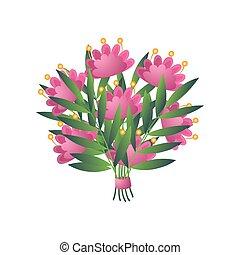 rózsaszínű, egzotikus virág, csokor, elszigetelt, sárga, bloomy, friss, white szalag