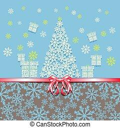rózsaszínű, elkészített, tehetség, snowflakes., fa, köszönés, íj, year., dobozok, új, karácsonyi üdvözlőlap