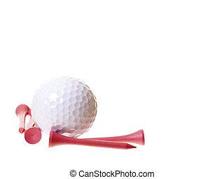 rózsaszínű, elkezdődik, golf, elszigetelt, white labda