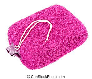 rózsaszínű, elszigetelt, fürdőkád szivacs, ovális, fehér