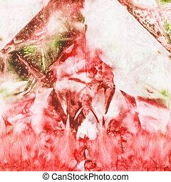 rózsaszínű, elvont, batik, zöld, selyem, festmény