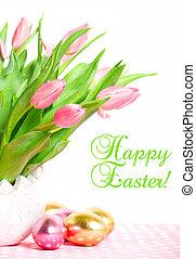 rózsaszínű, eredet, tulipánok, noha, easter ikra