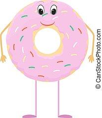 rózsaszínű, fánk, betű, cukorbevonat, karikatúra