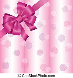 rózsaszínű, fény, szalag, háttér, íj
