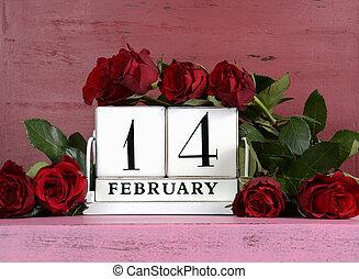 rózsaszínű, february 14, csokor, szüret, kedves, erdő, roses., háttér, naptár, nap, piros, boldog