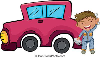 rózsaszínű, fiú, övé, autó, birtok, elülső, eszközök, boldog
