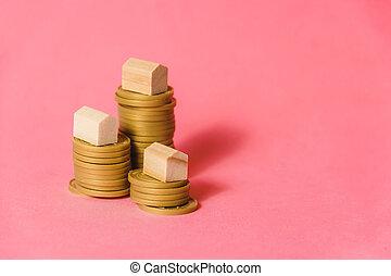 rózsaszínű, fogalom, jelzálog, épület, érmek, kazalba rak, kisméretű, háttér, copyspace., befektetés
