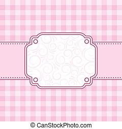 rózsaszínű, frame., vektor, illustration.