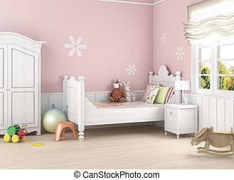 rózsaszínű, girlâ´s, szoba