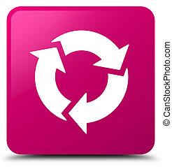 rózsaszínű, gombol, derékszögben, felfrissít, ikon