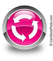 rózsaszínű, gombol, felfrissít, sima, kerek, ikon