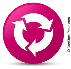 rózsaszínű, gombol, kerek, felfrissít, ikon