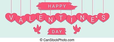 rózsaszínű, gratuláció, köszönés, kedves, piros, doves., horizontális, aláír, transzparens, nap, boldog