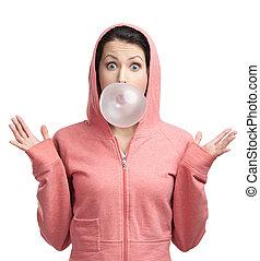 rózsaszínű, gumi, leány, buborék, elfúj, ki