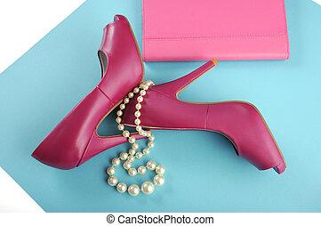 rózsaszínű, hölgyek, szín, kuplung, cipők, modern, ...