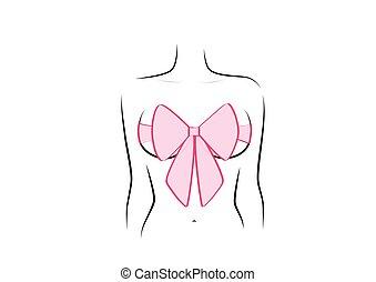 rózsaszínű, horisontal, nő, alak, szépség, elszigetelt, ábra, íj, háttér, vektor, mell, fehér, tehetség