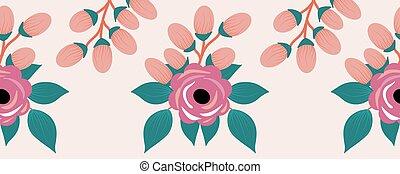 rózsaszínű, horizontális, zenemű, határ, rózsa