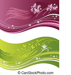 rózsaszínű, hullámos, zöld, virágos, szalagcímek