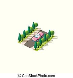 rózsaszínű, isometric, kabrió