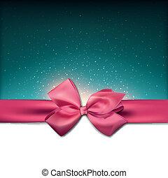 rózsaszínű, kártya, köszönés, bow.