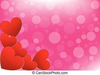 rózsaszínű, kártya, Nap, háttér,  valentine's