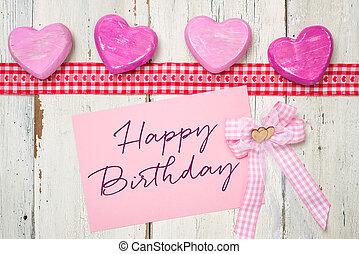 rózsaszínű, kártya, noha, a, felírás, boldog születésnapot