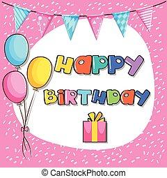rózsaszínű, kártya, születésnap, sablon, háttér