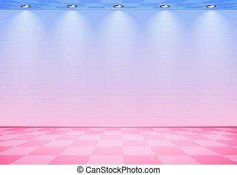 rózsaszínű, kék, kockás, szoba, emelet, fal, felett, lenget, címzett, 80, gőz