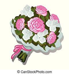 rózsaszínű, közelkép, illustration., csokor, buja, elszigetelt, bekötött, háttér., vektor, white virág, karikatúra, szalag