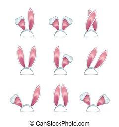 rózsaszínű, különböző, positions., set., vektor, üregi nyúl, fül, fülek