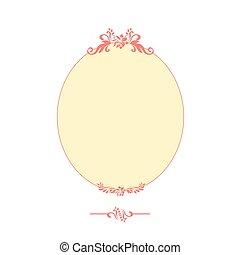 rózsaszínű, keret, elszigetelt, calligraphic, tervezés, ovális, fehér