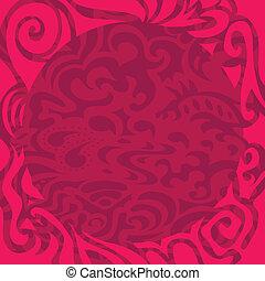 rózsaszínű, keret, göndör