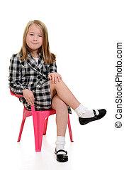 rózsaszínű, kevés, szék, leány, ülés