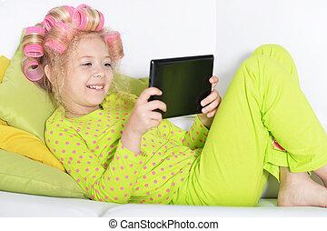 rózsaszínű, kevés, tabletta, hajcsavarók, használ, leány, bájos