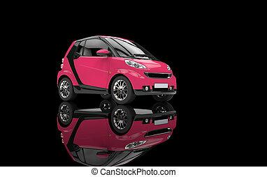 rózsaszínű, kicsi autó