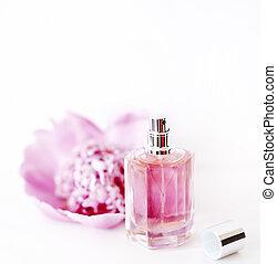 rózsaszínű, kiegészítő, virág, palack, babarózsa, alkat, elszigetelt, illatszer, háttér., kozmetikai, fényűzés, női, life., fehér, mozdulatlan