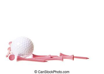 rózsaszínű labda, golf, whitespace, elkezdődik