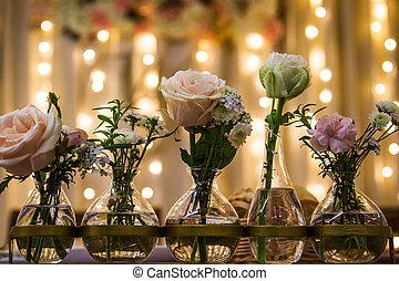 rózsaszínű, lakberendezési tárgyak, szüret, agancsrózsák, otthon, fehér, váza, asztal
