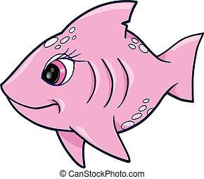 rózsaszínű, leány, cápa, óceán, nyár, vektor