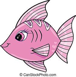 rózsaszínű, leány, fish, óceán, vektor