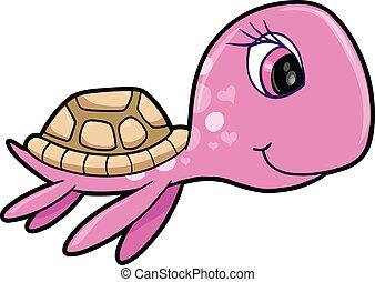 rózsaszínű, leány, nyár, tengeri teknős, állat