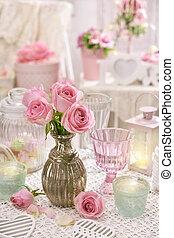 rózsaszínű, mód, kopott, váza, agancsrózsák, asztal, belső, sikk