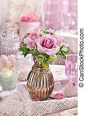 rózsaszínű, mód, kopott, váza, asztal, sikk, menstruáció, csokor