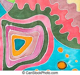 rózsaszínű, motívum, elvont, batik, geometriai, selyem