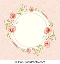 rózsaszínű, motívum, koszorú, köszönés, stilizált, agancsrózsák, kártya