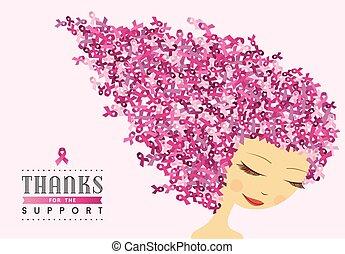rózsaszínű, nő, rák, szalag, boldog, tudatosság, mell