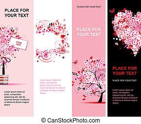 rózsaszínű, nyár, függőleges, tervezés, virágos, szalagcímek, -e