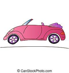 rózsaszínű, nyár, kabrió, autó, ábra, leány