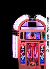 rózsaszínű, pénzbedobós gramofon automata