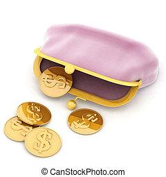 rózsaszínű, pénztárca, képben látható, egy, fehér